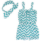 Newborn Baby Girl Clothes Chevron Jumpsuit Romper Bodysuit + Headband Outfits US
