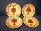CIB HOLIDAY TOPIARY BY PAMELA GLADDING DESSERT PLATES SET OF 4 NIB