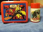 Nice Vintage DICK TRACY Red Plastic Lunchbox Lunch Box +Thermos Aladdin