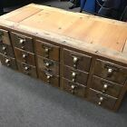 Antique 15-Drawer Library Card Catalog File Cabinet Drawers