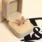 Fashion Womens Hollow Butterfly Shape Ring Filled With CZ AAA Size 7 Rose Gold