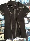 Red by Marc Ecko Womens Button Down Shirt Size Small Black w White Stitching