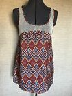 Forever 21 Womens Size M Silky Flowy Sprint Time Tank Top Red Orange Blue WT052