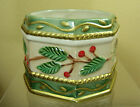 Vtg Fitz & Floyd Christmas Trinket Box Candy Dish WINTER WONDERLAND without lid