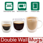 2 3 8 10 oz Kitchen Clear Glasses SET Strong Double Wall Coffee Mug Tea Cups