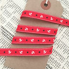 9mm Red Nautical Grosgrain Ribbon with Cream Anchor Navy Blue Star 1M 5M or Roll
