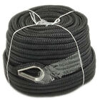 Anchor Rope 1 2 Inch 150 Feet Double Braided Nylon Rope with Thimble Black