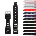 StrapsCo Rubber Perforated Rally Racing Watch Band Silicone Strap w Curved Ends