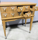 Card Catalog 10-Drawer Wood Library Cabinet - Vintage Library Catalogue
