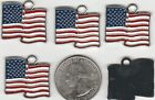 YOU GET 10 METAL ENAMEL RED WHITE  BLUE US FLAG PENDANT CHARMS W 6