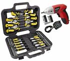 SPARES2GO Complete Magnetic Screwdriver and Bit Tool Kit + Mini Cordless