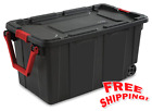Set of 2 Plastic Storage Wheeled Container Tote Rugged Industrial Lid Bin Box