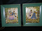 2 VINTAGE ROMANTIC REVERSED PAINTED GLASS METAL FRAME LIGHT BOX LOVE PICTURE