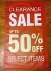 CLEARANCE SALE UP TO 50 OFF BANNER SIGN 36 width x 48 height