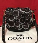 NEW Coach 1941 Glovetanned Leather Tea Rose Black Applique Saddle 17 bag 550