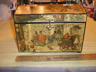 Vintage Anton Pieck Wooden Decoupage Box Purse Market Lucite Handle 1970 FR/SHP