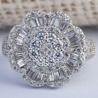 Gorgeous 925 Silver White Sapphire Flower Ring Anniversary Bridal Women Jewelry