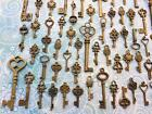 40 Large Brass Bulk Antique Vtg Old Look skeleton key Wedding steampunk charm F1