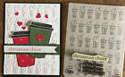 Stampin Up retired CHRISTMAS CHEER clear stamp  COFFEE CUPS Embossing folder