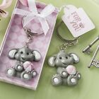 adorable baby elephant with pink design key chain Baptism Christening