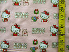 HELLO KITTY PINK CHRISTMAS PRINT 100 COTTON FLANNEL FABRIC BY THE 1 2 YARD
