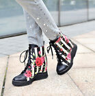 Womens Floral Hiden Heel Lace Up Casual Shoes High Top Leather Dance Sneaker S99