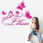 Butterflies Personalize Custom Name Home Sticker Vinyl Baby Room Wall Decor Girl