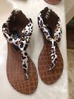 New Woman's BROWN BLACK LEOPARD Animal Print Sandals  Size 6  Brand: 385 fifth