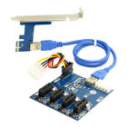 PCI e Express 1x to 4 Port 1x Switch Multiplier Splitter Card with USB 30 Cable