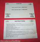 ELEKTRA By BALLY 1981 ORIGINAL PINBALL MACHINE INSTRUCTION + SCORE CARD SET