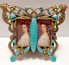Antique Looking Butterfly Turquoise Jeweled 2 Photo Collage Picture Photo Frame