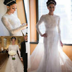 Modest Long Sleeves Wedding Dresse Lace Appliques Beaded Bridal Gown Custom Size