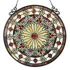 Window Panel Stained Glass Suncatcher Victorian Style Tiffany Hanging Round