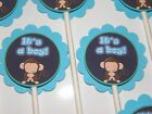30 ITS A BOY BABY MONKEY Cupcake Toppers Birthday Party Favors Baby Shower 30
