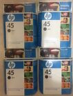 Lot Of 4 New In Box HP 45 51645A Black Ink Cartridge Exp 2009 Free Shipping