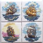 Nautical Ceramic Tile Set of 4 kiln fired 425 x 425 Sailing Ships