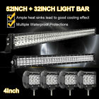 52Inch LED Work Light Bar + 20in +4 CREE PODS OFFROAD SUV 4WD ATV FORD JEEP 50