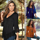 US Fashion Women Lace 3 4 Sleeve V Neck T Shirt Casual Loose Tops Blouse Shirts