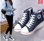 Womens New Canvas Lace Up Sneaker Height Increasing Wedge Canvas Sports Shoes