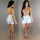 Womens Ladies US Vintage High Waist Stretch Ripped Denim Jeans Shorts Hotpants