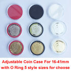 40X US Capsules Coin Badge Case Holder Display for 16-41mm+Adjustable O Ring