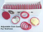 50 Adjustable Coin Challenge Badge Case Capsules Holder Display for 16-41mm RED