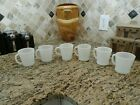 6 FIRE KING ANCHOR HOCKING White Milk Glass COFFEE CUPS- Mugs-Mixed Styles