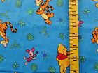 DISNEY POOH TIGGER ROO ON TURQUOISE 100 COTTON FLANNEL FABRIC 12X42 INCHES