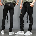 Mens Fashion Ring Styling Zipper Hem Ripped Skinny Jeans GENTLER SHOP