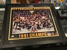 1991 PITTSBURGH PENGUINS STANLEY CUP CHAMPS SIGNED 16X20 PHOTO FRAMED 22X26 JSA