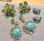 Lot unique vintage Earrings in greens and blues read description for details