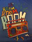 80s Retro Cartoon Style Boombox T-SHIRT Hip Hop Graphic Blue