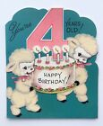 RUST CRAFT Vintage Card Cute Flocked Lamb Birthday Card Candle Pink Flower Bow