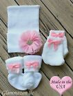 Newborn baby girl big bow beanie with socks mittens set of 3 keepsake gift